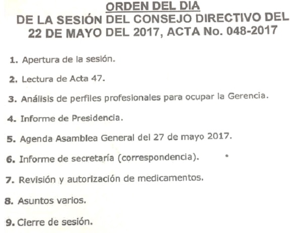 ORDEN DEL DIA LUNES 22 DE MAYO 2017