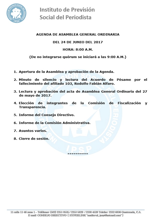 AAMBLEA GENERAL ORDINARIA AGENDA 24 - JUNIO 2017